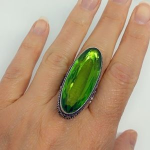 Peridot Gemstone Artisan Sterling Silver Ring